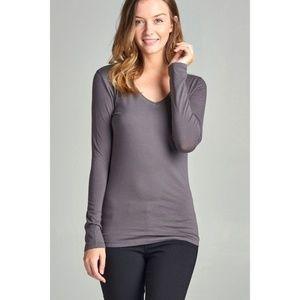 Tops - Basic Charcoal Gray Long Sleeve V-Neck Tee